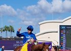 William Buick gets his first Breeders' Cup win aboard Wuheida in the Filly & Mare Turf at Del Mar