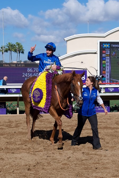 Wuheida wins the Breeders Cup Filly and Mare Turf on November 4, 2017.