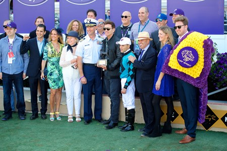 Connections of Stormy Liberal after winning the Breeders Cup Turf Sprint on November 4, 2017.
