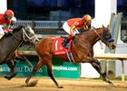 "Hoppertunity delivers the win in the Clark Handicap.<br><a target=""blank"" href=""http://photos.bloodhorse.com/AtTheRaces-1/At-the-Races-2014/i-jpLsZw7"">Order This Photo</a>"