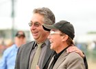 David Cassidy (black hat) with trainer Gary Contessa after Sweet Vendetta took the 2008 Black-Eyed Susan at Pimlico