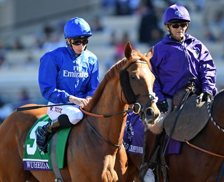 Wuheida, William Buick up, winners of the Breeders' Cup Filly & Mare Turf