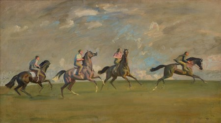 Sir Alfred Munnings' painting, A Morning's Work, Newmarket Heath