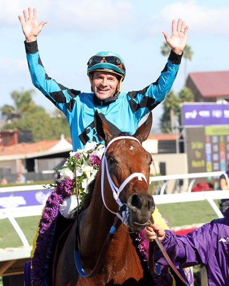 Kent Desormeaux celebrates after winning the Breeders' Cup Sprint aboard Roy H at Del Mar on November 4, 2017