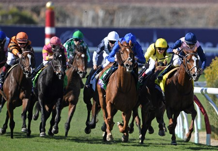 Wuheida, William Buick up, on their way to winning the Breeders' Cup Filly & Mare Turf