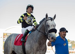 Greyvitos after capturing the Nov. 11 Bob Hope Stakes at Del Mar