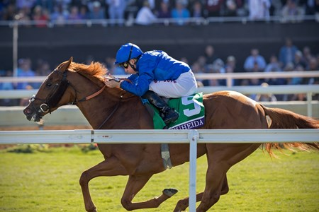 Wuheida wins the Breeders' Cup Filly & Mare Turf