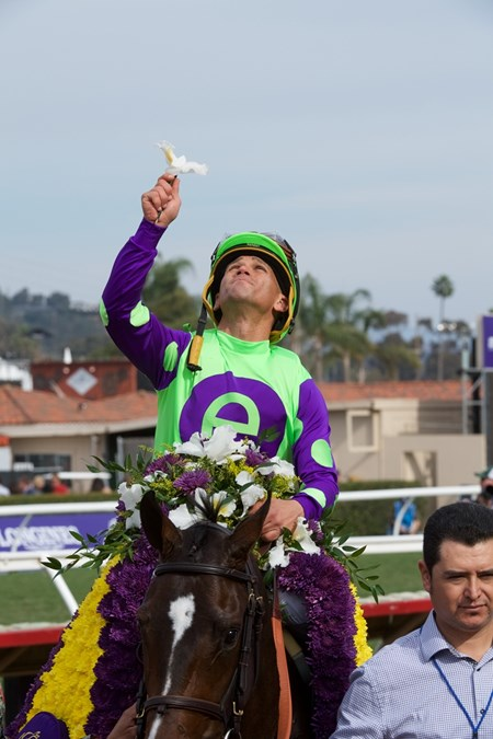 Javier Castellano celebrates winning the Breeders Cup Juvenile Fillies Turf atop Rushing Fall at Del Mar on November 3, 2017.