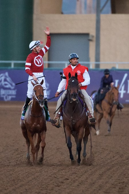 Florent Geroux celebrates after winning the Breeders Cup Classic atop Gun Runner on November 4, 2017.