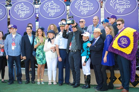 Connections of Stormy Liberal after winning the Breeders Cup Turf Sprint on November 4, 2017