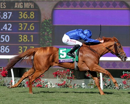 Wuheida with William Buick win the Filly & Mare Turf at Del Mar on November 4, 2017