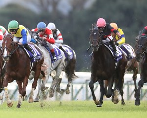 Persian Knight and Mirco Demuro (pink cap) win the Mile Championship at Kyoto