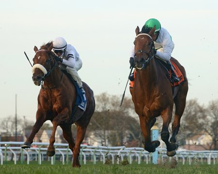 Spring Quality (inside) holds off Call Provision to win the Red Smith Handicap at Aqueduct Racetrack