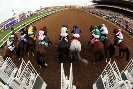 The start of the Breeders' Cup Dirt Mile at Del Mar on November 3, 2017.