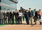 Ruggero and his connections after winning the Cattleya Sho at Tokyo Racecourse