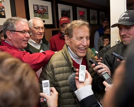 Songbird: Duncan Taylor congrats Rick Porter as he talks to media Horses at the Fasig-Tipton Kentucky November sale on Nov. 6, 2017 Fasig-Tipton in Lexington, KY.