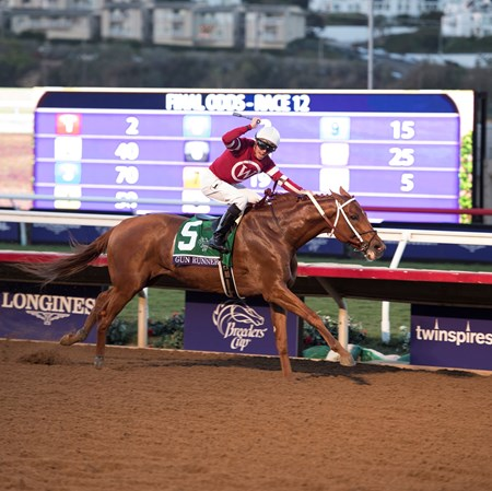 Gun Runner wins the Breeders Cup Classic on November 4, 2017