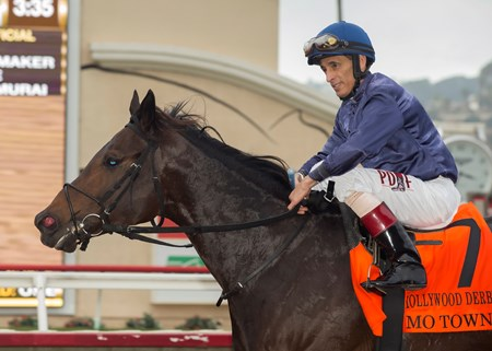 Jockey John Velazquez guides Mo Town to the winner's circle after their victory in the G1T, $300,000 Hollywood Derby, Saturday, November 25, 2017 at Del Mar Thoroughbred Club, Del Mar CA.