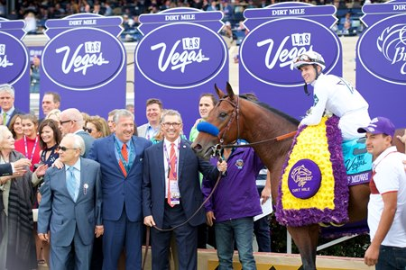 Battle of Midway with his WinStar and Don Alberto connections in the winner's circle after taking the Breeders' Cup Dirt Mile