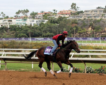 Bolt d'Oro on the track at Del Mar on November 1, 2017