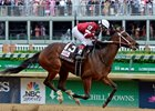 In the U.S., Rosie Napravnik enjoyed success at the top levels, seen here guiding Untapable to victory in the 2014 Longines Kentucky Oaks