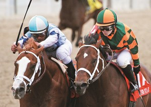 El Padrino (outside) earned his greatest win when he edged Mark Valeski to take the 2012 Risen Star Stakes