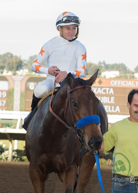 Jockey Drayden Van Dyke guides Dream Tree to the winner's circle after their victory in the 2017 Desi Arnaz Stakes, Saturday, November 18, 2017 at Del Mar Thoroughbred Club, Del Mar CA.