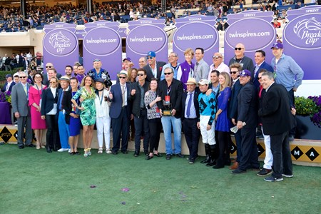Connections of Roy H celebrate after winning the Breeders Cup Sprint on November 4, 2017.