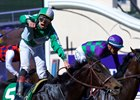 Irad Ortiz Jr. celebrates his victory aboard Bar of Gold in the Breeders' Cup Filly & Mare Sprint at Del Mar