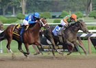 "Golden Ticket (right) and Alpha may meet again in the  Pennsylvania Derby.<br><a target=""blank"" href=""http://photos.bloodhorse.com/AtTheRaces-1/at-the-races-2012/22274956_jFd5jM#!i=2046946748&k=fp9cXCW"">Order This Photo</a>"