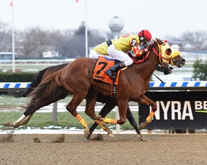 Aqua Bel Sar gets by Belleville Spring in the New York Stallion Series Great White Way Stakes