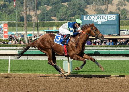 Giant Expectations and jockey Gary Stevens win the Grade II, $300,000 San Antonio Stakes, Tuesday, December 26, 2017 at Santa Anita Park, Arcadia CA.