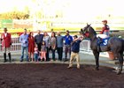 Scathing in the winner's circle after her win in a starter allowance at Los Alamitos Dec. 14