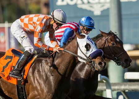 Pubilius Syrus (outside) defeats Inscom by a head in the Eddie Logan Stakes at Santa Anita Park