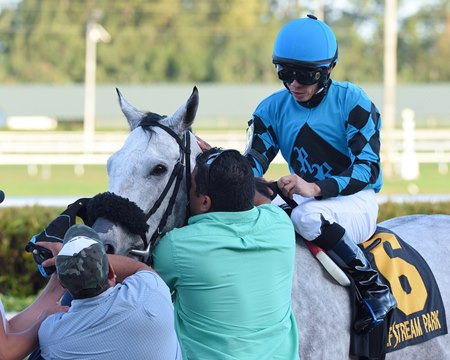 Emisael Jaramillo, seen here after riding X Y Jet to victory in the Mr. Prospector Stakes at Gulfstream Park Dec. 23, is expected to miss a week of racing after a spill Dec. 28