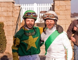 Wes Hamilton, left, with his father and fellow jockey Steve 'Cowboy' Hamilton
