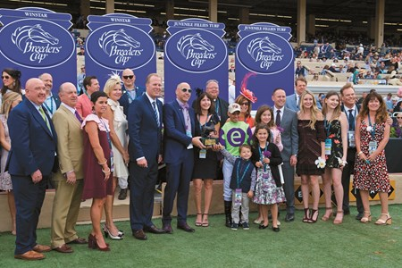 Connections of Rushing Fall celebrate wining the Breeders Cup Juvenile Fillies Turf at Del Mar on November 3, 2017