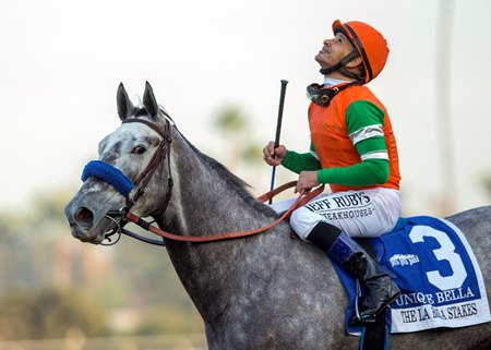 Unique Bella earned her fifth graded win and first grade 1 in the La Brea Stakes