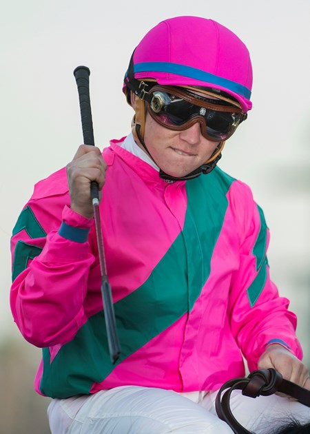 Jockey Drayden Van Dyke celebrates aboard City of Light after their victory in the Grade I, $300,000 Malibu Stakes, Tuesday, December 26, 2017 at Santa Anita Park, Arcadia CA.