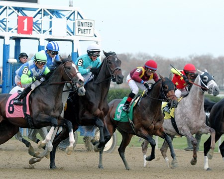 Catholic Boy (#5) breaks from the gate with Manuel Franco and goes on to win the 104th Running of The Remsen (G2) at Aqueduct on December 2, 2017