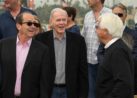 Co-owners Karl Watson, left, and Paul Weitman, center, have a laugh with trainer Bob Baffert, right, after McKinzie's victory in the G3, $100,000 Sham Stakes, Saturday, January 6, 2018 at Santa Anita Park, Arcadia CA.