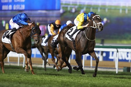 Light the Lights wins the Mubadala Global Trophy Handicap at Meydan
