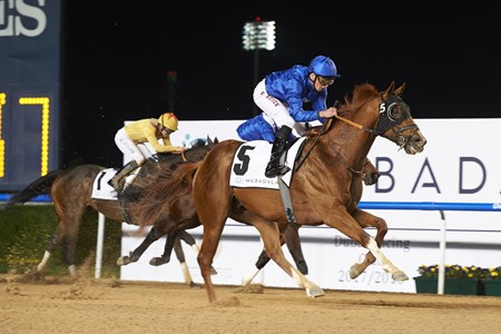 Comicas wins the Dubawi Stakes sponsored by Borealis Group 3 at the second Dubai World Cup Carnival race meeting on January 18th, 2018