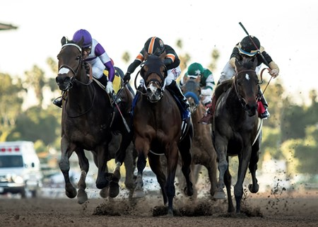 Reddam Racing's Mopotism and jockey Mario Gutierrez, left, overpower Mended (Ricardo Gonzalez), middle, and La Force (Drayden Van Dyke), right, to win the G2, $200,000 2018 La Canada Stakes