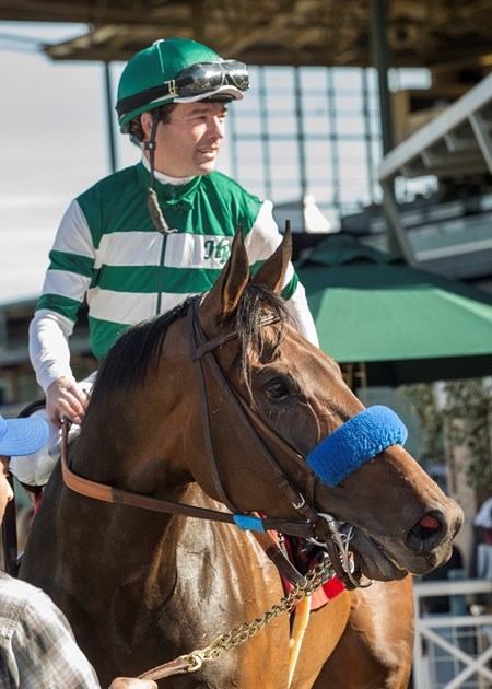 Jockey Tyler Baze guides Edwards Going Left to the winner's circle after their victory in the $150,000 Donald Valpredo California Cup Sprint, Saturday, January 27, 2018 at Santa Anita Park, Arcadia CA.