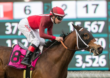 Itsinthepost and jockey Tyler Baze win the G2, $200,000 San Gabriel Stakes, Saturday, January 6, 2018 at Santa Anita Park, Arcadia CA.