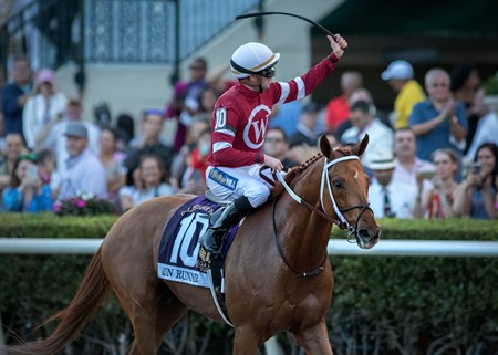 Gun Runner wins the Pegasus World Cup at Gulfstream on January 27th, 2018, jockey Florent Geroux up