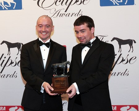 L-R Bernard and Eamonn Cleary accept the Eclipse Award for Outstanding Breeder, 2018 Eclipse Awards, Gulfstream Park