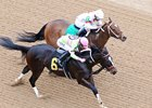 Amy's Challenge (outside) battles Mia Mischief to the wire in the Dixie Belle Stakes at Oaklawn Park