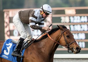 Madame Stripes and Kent Desormeaux win the Megahertz Stakes
